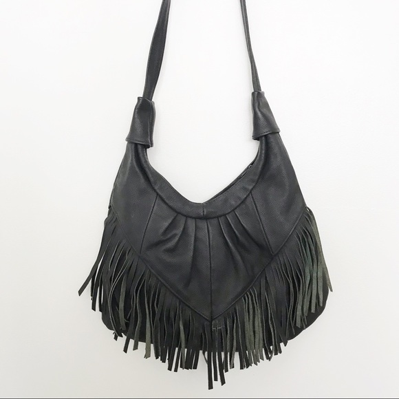 Vintage Handbags - Vintage Boho Hippie Fringe Leather Purse